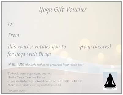 Yoga gift vouchers yoga with divya what m4hsunfo